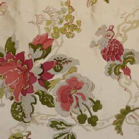 Parnham Silk - Coral Olive - Ornate florals printed on fabric made from 100% silk in beige, olive green, forest green, grey, salmon pink and