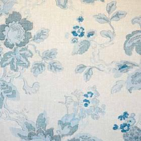 Parnham II - Blue - White and various light shades of blue making up a subtle watercolour effect floral pattern on 100% linen fabric