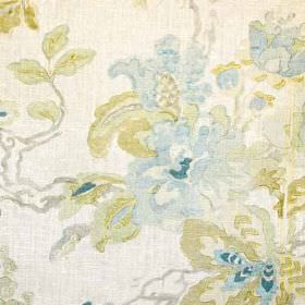 Parnham II - Blue Green - Sophisticated florals made in light, subtle shades of off-white, beige, grey and blue, on fabric made from 100% li