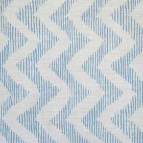 Colebrook - Blue On Oyster - White vertical zigzags running down a narrowly striped sky blue and white linen and polyamid blend fabric backg