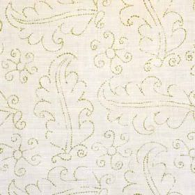 Hazelbury - Green - Chalk white and light grey coloured linen and polyamide blend fabric, with outlines of leaves made up of tiny dots