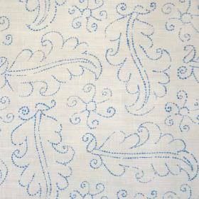 Hazelbury - Blue Oyster - Outlines of large leaves made up of tiny sky blue coloured dots patterning light grey fabric made from linen and pol
