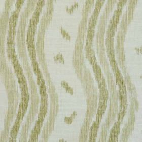 Ikat Stripe - Green Oyster - White linen and polyamide blend fabric printed with vertical wavy lines and small smudges in beige and olive gr
