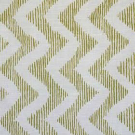 Colebrook - Slate Green On Natural - Thin vertical stripes in dark brown and beige printed on linen and polyamid blend fabric, behind vertical p