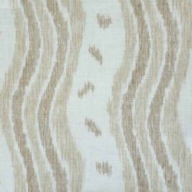 Ikat Stripe - Taupe Oyster - Taupe and light brown-grey wavy lines and small smudges printed on a pale grey linen & polyamide blend fabric b