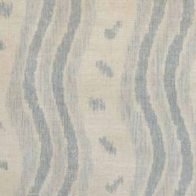 Ikat Stripe - Blue Natural - Fabric made from linen and polyamide, featuring vertical wavy lines and small smudges in two shades of blue and