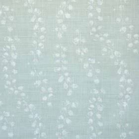 Laburnum - Aqua Oyster - Tiny, subtle white smudges arranged in wavy lines over light blue linen and polyamide blend fabric