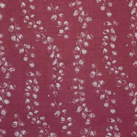 Laburnum - Berry Natural - Mulberry coloured linen and polyamide blend fabric printed with small light grey smudges arranged in wavy lines