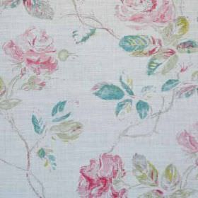 Marlow - Turquoise Pink Oyster - Feminine florals patterning linen and polyamide blend fabric in pale grey, baby pink, apple green and sky b