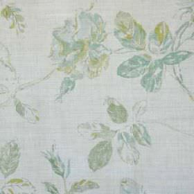 Marlow - Aqua Lime Oyster - Duck egg blue, apple green and light grey florals making a sophisticated pattern on pale grey linen and polyamid