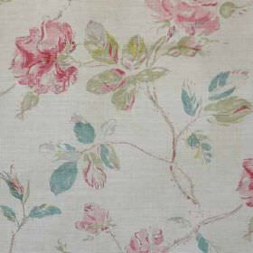 Marlow - Turquoise Pink Natural - Pale grey linen and polyamide blend fabric printed with delicate florals in light shades of blue, green, g
