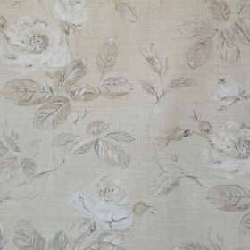 Marlow - Taupe White Natural - Delicate, subtle floral patterns covering fabric made from linen and polyamide in various similar light shade