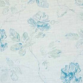 Marlow - Mint Blue Oyster - Very pale blue-white coloured linen and polyamide blend fabric, patterned with classic sky blue coloured florals