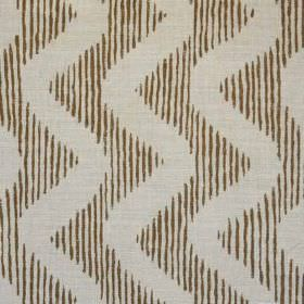 Colebrook - Brown On Natural - Fabric made from linen and polyamid, featuring thin stripes behind vertical zigzag patterns in ash grey and d