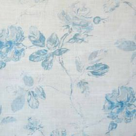 Marlow - Blue Oyster - Baby blue and white coloured fabric blended from linen and polyamide, featuring a classic, sophisticated floral patte