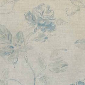 Marlow - Blue Mint Natural - Fabric made from linen and polyamide, printed with subtle, elegant florals in light shades of blue and grey