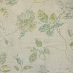 Marlow - Aqua Lime Natural - Light shades of grey, apple green and duck egg blue making up a floral pattern on pale grey linen and polyamide