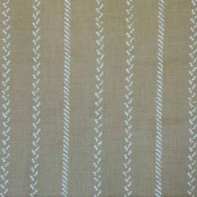 Pelham Stripe - Mocha - Vertical lines made up of tiny pale grey diagonal lines running down brown-grey fabric made from linen and polyamide