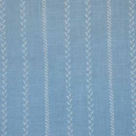 Pelham Stripe - Blue - Fabric made from sky blue linen and polyamide, patterned with vertical stripes made up of tiny white diagonal lines