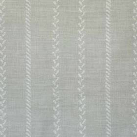 Pelham Stripe - French Grey - Small diagonal lines making up a vertical stripe pattern on fabric made from linen & polyamide in 2 light shad