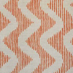 Colebrook - Coral On Natural - Vertical dark orange stripes creating a zigzag pattern on light grey linen and polyamide blend fabric