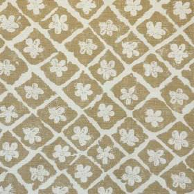 Pomeroy - Brown On Natural - Simple flowers & a rough grid pattern printed in a putty colour on pebble brown coloured linen & polyamide blen
