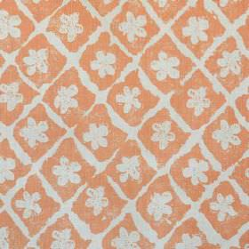 Pomeroy - Pumpkin On Natural - Bright coral coloured fabric made from linen and polyamide, printed with a rough design of a grid & simple fl
