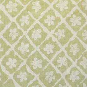 Pomeroy - Lime On Natural - Linen and polyamide blend fabric, printed with a rough grid and simple floral shapes in light shades of grey and