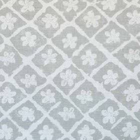 Pomeroy - French Grey On Oyster - Off-white coloured simple flower shapes and a rough grid printed on linen and polyamide blend fabric made