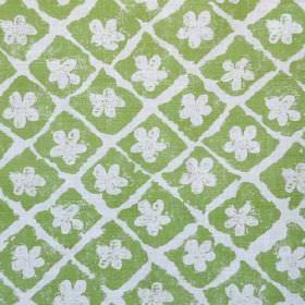 Pomeroy - Green Oyster - A rough grid and simple floral shapes printed in very pale grey-white on grass green coloured linen and polyamide f