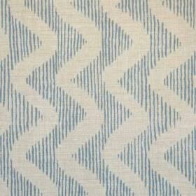 Colebrook - Dark Blue On Natural - Linen and polyamide blend fabric made in light blue and grey, featuring a vertically striped zigzag patte