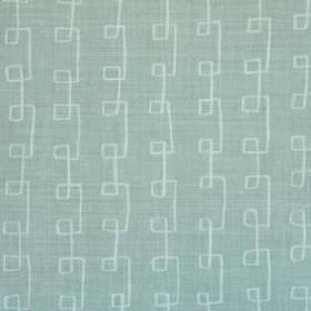 Griffin - Aqua Oyster - Angular swirling lines in pale blue patterning a light blue linen and polyamide blend fabric background