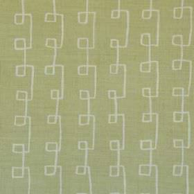 Griffin - Green Natural - Light grey and light olive green coloured linen and polyamide blend fabric, featuring angular swirling lines