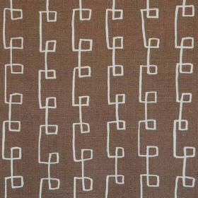 Griffin - Brown Natural - Fabric made from dark brown linen and polyamide, patterned with angular swirling lines in light grey