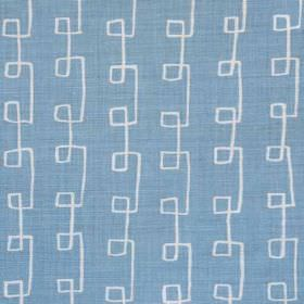 Griffin - Blue Oyster - Linen and polyamide blend fabric patterned with angular swirling lines in white and light sky blue colours