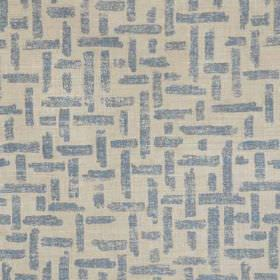 Criss Cross - Blue Natural - Horizontal and vertical lines making up a denim blue woven effect pattern on stone coloured linen and polyamide ble