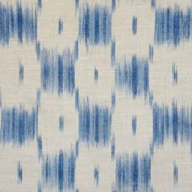 Ikat Check - Dark Blue - A smudged, blurred checkerboard style pattern printed in 2 bright shades of blue on white linen and polyamide blend f
