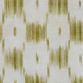 Ikat Check - Green - White linen and polyamide blend fabric featuring a beige and olive green design of a blurred, smudged checkerboard
