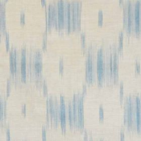 Ikat Check - Dusty Blue Natural - Fabric made from linen and polyamide in off-white and two light shades of blue, with a blurred checkerboar