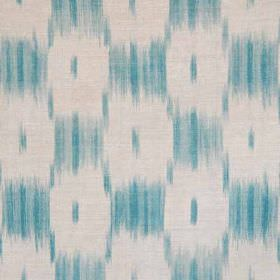 Ikat Check - Turquoise - A blurred checkerboard style design printed on linen and polyamide blend fabric in chalk white and turquoise shades