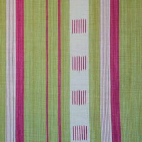 Malabar - Pink Green - Grass green, bright magenta and light grey coloured stripes and lines printed on linen and polyamide blend fabric