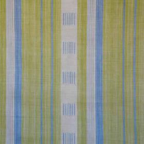 Malabar - Blue Green - Linen and polyamide blend fabric printed with vertical lines and stripes in pale grey, apple green and bright sky blu
