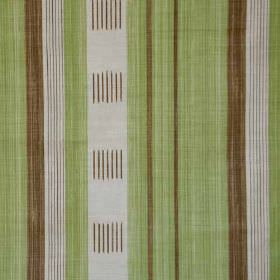 Malabar - Brown Green - Chocolate brown, light green and pale grey coloured linen & polyamide blend fabric printed with vertical stripes & l