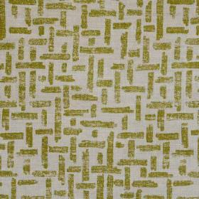 Criss Cross - Green Natural - Light grey linen and polyamide blend fabric printed with a simple woven style pattern in a deep olive green co