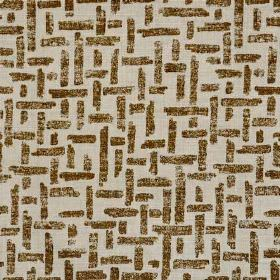 Criss Cross - Brown Natural - Dark brown and light grey coloured linen and polyamide blend fabric printed with a simple pattern of interwove