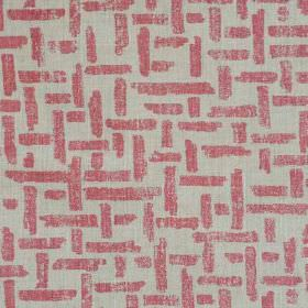 Criss Cross - Pink Natural - A pattern of interwoven lines printed in rose pink on a light grey linen and polyamide blend fabric background