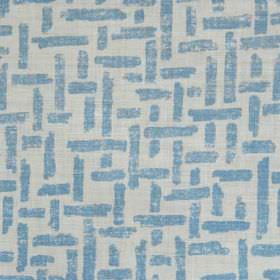 Criss Cross - Blue Oyster - Linen and polyamide blend fabric in light grey, printed with a pattern of interwoven lines in a bright shade of