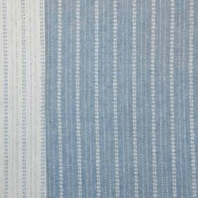 Ebury - Blue - Small dots arranged in a vertical stripe design on 100% linen fabric, made in white and powder blue colours