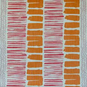 Saltaire - Orange Pink Purple Rustic - Contemporary 100% linen fabricmade in chalk white, printed with grey wiggly stripes, thin red lines
