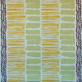 Saltaire - Lime Gold Plum Rustic - Light green rectangles, thin mustard yellow lines and black wiggly stripes printed on off-white 100% line